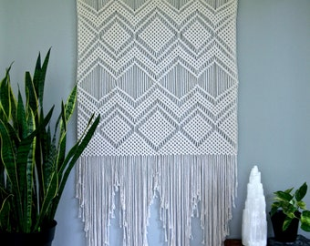 Extra Large Macrame Wall Hanging - Natural White Cotton Rope on Dowel - Geometric Boho Home, Nursery Decor, Wedding Backdrop - Ready To Ship
