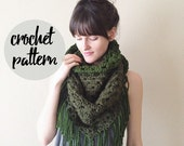 Crochet Pattern for Triangle Scarf, Blanket Fringe Shawl Scarf / Easy Beginner Crochet Pattern / Instant PDF Digital Download
