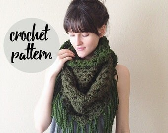 Crochet Pattern for Triangle Scarf, Blanket Fringe Shawl Scarf / Easy Beginner Crochet Pattern / Instant PDF Digital Download