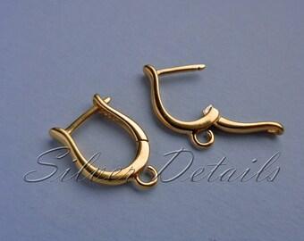 Original Shape 24k Gold Vermeil over Sterling Silver Euro Leverbacks Ear Hooks 925 Earring finding reference code L8Y