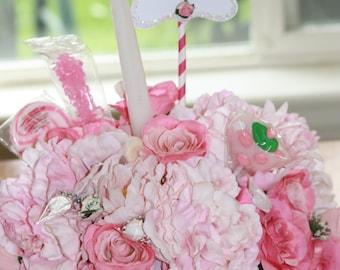 Floral Arrangement Birthday Cake Celebration Candy Bouquet Silk Flower Centerpiece 3 In 1 Edible Candy Arrangement Shabby Chic Bouquet