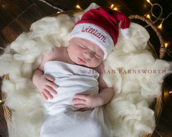 newborn Santa hat - personalized newborn - baby first christmas outfit - Christmas photo prop- christmas baby outfits