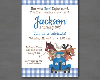 Little Blue Truck Birthday Party Invitation--Printable Invitation; Printed Invitation; Blue Gingham