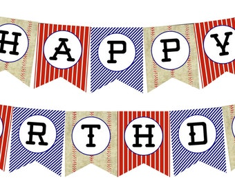 INSTANT DOWNLOAD Baseball Party Happy Birthday Banner--DIY Printable