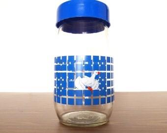 1.5L Carlton Glass Jar Duck 1982 Cannister Vintage Retro Modern Blue