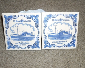 Holland America Line Set of 2 Delft Tiles Ship Trivet Cork Backing Nautical ms ZUIDENDAM I 1940-1947