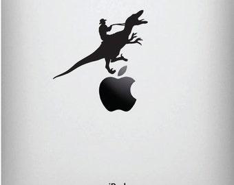 "iPad - Raptor Rodeo - Cowboy Riding Dinosaur -  iPad Tablet Vinyl Decal -  YYDC. (3.5""w x 2""h) (BLACK)"