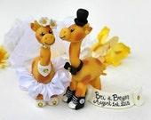 Wedding giraffe cake topper - custom personalized animal cake topper - giraffes in love - safari cake topper - with banner