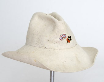 Vintage Distressed White Western Hat Hi Bullrider Ivory Wool Wide Brim Western Hat size 7