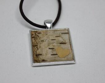 Real Birch Bark Resin Pendant - Resin Jewelry, Nature Jewelry, Birch Bark Jewelry