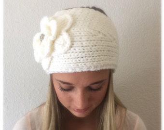 White (Ivory)Knit Headband, Ear Warmer with Crochet Flower and Rhinestone Button