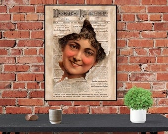 Antique Inspired Hoods Art Print / Poster Blushing Victorian Woman Vintage  18 x 24, 12 x 16
