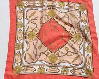 Vintage Kitsch  Scarf -Pink Pastel Fabric Gold Keys Design - key pattern - vintage keys - pocket square fabric -large