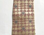 Vintage 1940s 50s Plum Rose Grey Cream Silk Necktie Tie