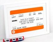 New Baby Gift, Personalised Train Ticket, New Baby Print, Personalised Print, Nursery Decor, Christening Gift, Travel Nursery Art, Wall Art