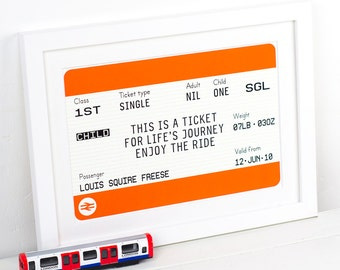 New Baby Gift, Personalised Train Ticket, New Baby Print, Personalised Print, Nursery Decor, Christening Gift, Travel Nursery Art, Wall Art