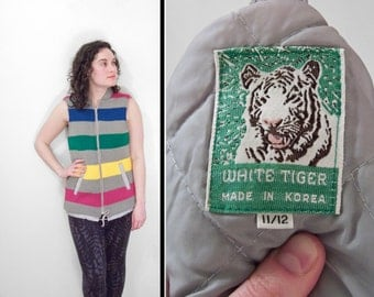 1980s Striped Sweater Vest White TIGER Zip Up Gray + Primary Colors