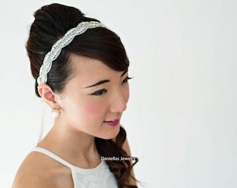 Wedding Hair Accessory, Beaded headband, Ribbon Headband