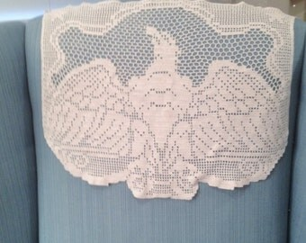 Vintage Machine Crochet Antimacassar with American Eagle