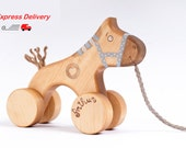 EXPRESS DELIVERY Personalized Wooden Toy, eco-friendly kids toy a Blue Horse