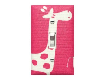 Candy Pink Giraffe Light Switch Plate / Baby Girl Nursery Wall Decor / Fuchsia Hot Pink Premier Prints Gisella Stretch Premier Prints