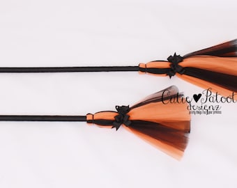 READY TO SHIP: Bewitched Broomstick - Orange & Black - Halloween Witch Broom Costume Accessory - Bitty Toddler Child Size