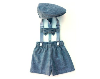 Baby Boy Outfit, Vintage Style, Baby Boy, Newsboy Set, Driving Hat, Jeff Cap, Baby Boy Clothes, Newsboy Outfit, Baby Boy Prop, Coming Home