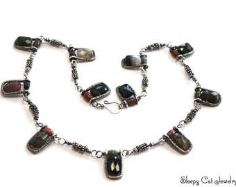 Sterling Silver and Fancy Jasper Artisan Necklace