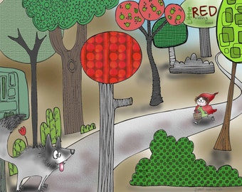 Little Red Riding Hood fairy tale story print for birthday gift