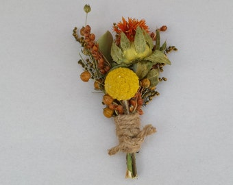 Set of 6 Rustic Dried Flower Boutonniere Yellow and Orange Flowers For Wedding or Prom