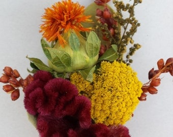 Set of 4 Dried Flower Boutonniere Flowers For Wedding or Prom Orange Yellow Burgundy