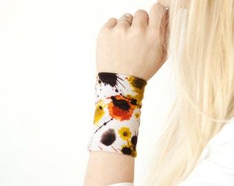 Fabric Wrist Bracelet Cuff, Wide Arm Band, Paint Splatter Jersey Bohemian Wristband Tattoo Coverup, Cuffs Tattoo Covers, Long Jewelry