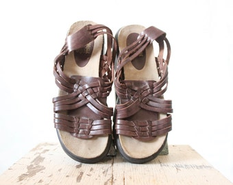 Vintage Espresso Leather Woven Sandals Sz 10 Mark down, see details