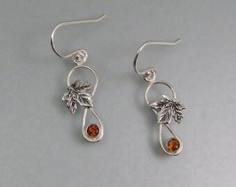 Maple leaf earrings - sterling silver citrine earrings - November birthstone - art nouveau woodland earrings - botanical elven earrings