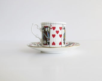 Elizabethan Cut for Coffee Cup and Saucer, Staffordshire Fine Bone China, Playing Cards Design, Coffee Cup & Saucer Set 4