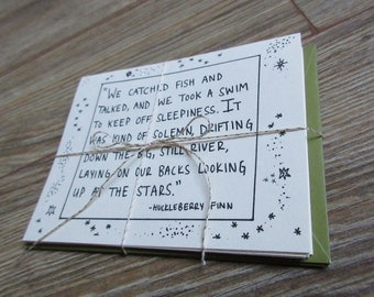 Huckleberry Finn Quote Folded Notecards - set of 5 with envelopes