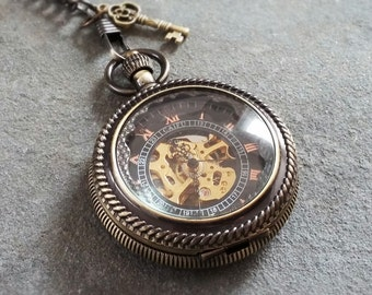 Pocket Watch, Steampunk Pocket Watch, Black Pocket Watch, Goth Pocket Watch, Best Man Gift, Steam Punk Accessory, Mechanical Pocket Watch