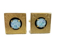Anson Cuff Links For Groom Opal Gold Square Antique Cufflinks Gold Cuff Links Vintage Groom Gift Father Of Bride Cufflinks