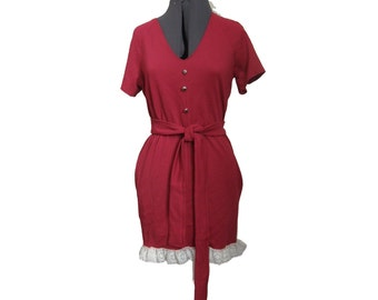 Women's Red Dress, Refashioned Dress, Red Dress, Upcycled Dress, One of  A Kind,
