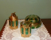 Antique Moser Emerald Smoking Dresser SET Jar Lighter Covered BoxGold Cabochan Panel Floral green crystal Favor glass Gilt Art Nouveau
