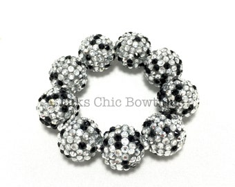 Girls All Bling Black, Silver and Clear Confetti Chunky bracelet, Princess bracelet, Monochrome bracelet, Black and silver bracelet