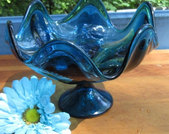 Blue Glass Footed Candy Dish/Viking Blue Footed Bowl/ Wedding Gift/Hand Blown Blue Glass