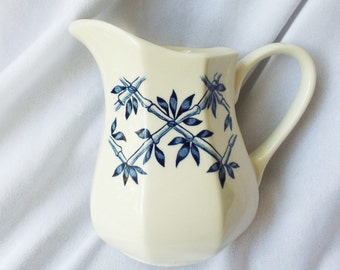 Ironstone Pitcher with Asian Blue Bamboo Trellis Pattern Royal Staffordshire England