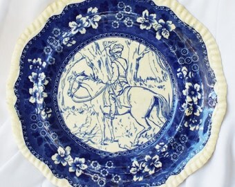 Vintage Copeland and Sons Spode Plate Blue White Hunter Horse