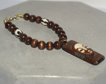 Mens Beaded Bracelet With African Mask Pendant Afrocentric Jewelry