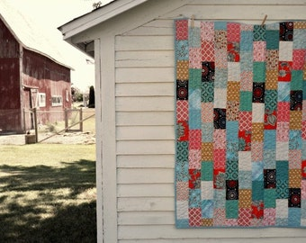 Modern Cottage Throw Quilt perfect picnic country cottage home accent hand quilted cozy cabin back porch summer evening bonfire gathering