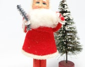 Vintage 5 Inch 1950's SANTA With Paper Face, holding  Christmas Tree
