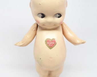 1920 Rose O'Neill 8 1/2 Inch Composition KEWPIE Doll,  Blue Wings, Red Heart Label