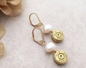 Bullet Casing Earrings, Freshwater Pearl Mother's Day Earrings - 14k Gold Filled