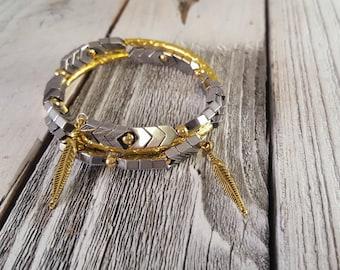 Silver Non-Magnetic Hematite Chevron & Gold Tube Memory Wire Bracelet